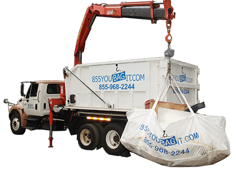 This is one of our dumpster rental bag trucks witha 855YOUBAGIT Dumpster Bag