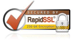 This is the RapidSSL Seal stating that this site is secured with 256-bit Encryption